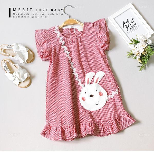 純棉 可愛澎澎荷葉邊兔子拼布格紋小洋裝 泡泡棉 日系 繡花 連身裙 女童 連衣裙 哎北比童裝