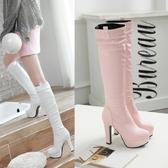 過膝靴高跟 鞋碼[33-43] 高筒靴子秋單靴防水台圓頭套腳瘦腿加厚長筒棉靴冬 - 古梵希