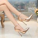 13cm鍍金跟黑色偽娘大碼超高跟鞋細跟變...