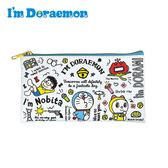 格紋款【日本正版】哆啦A夢 皮革 扁筆袋 鉛筆盒 筆袋 小叮噹 DORAEMON 三麗鷗 Sanrio - 080908