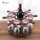 現代原木簡約歐式創紅酒架擺件家居擺設酒瓶架客廳葡萄酒架裝飾架  魔法鞋櫃