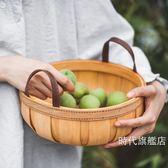 (交換禮物)野餐籃樹可 PU把手南瓜木片收納籃手工編織儲物籃圓形田園野餐籃收納筐XW