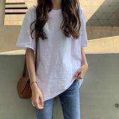 白色短袖T恤女2021夏季新款韓版寬鬆百搭純棉純色夏打底上衣ins潮 【Ifashion】