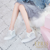 現貨 浪漫蕾絲厚底增高平底婚鞋 松糕厚底鞋 童話公主 好走不磨腳好搭配 22-25 EPRIS艾佩絲-浪漫白