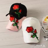 韓版玫瑰花絲光棒球帽夏天遮陽彎檐鴨舌帽子黑色嘻哈帽時尚潮人女  新年下殺