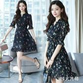 雪紡洋裝 女裝顯瘦五分中袖小個子碎花喇叭袖A字裙大碼連身裙 EY6063 『M&G大尺碼』