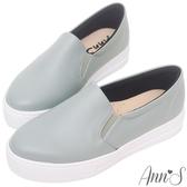 Ann'S進化2.0!荔枝牛紋足弓墊腳顯瘦厚底懶人鞋-藍