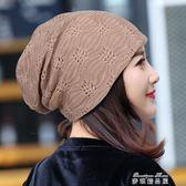春夏蕾絲包頭帽子 薄款月子帽頭巾空調帽光頭化療帽女透氣堆堆帽   麥琪精品屋