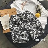 海灘褲夏季海灘褲男寬鬆休閒褲棉中褲花短褲男士五分褲大褲衩(免運)