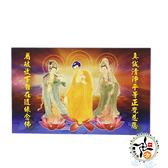 西方三聖Z(精緻佛卡)50張 +城市解脫咒貼紙(2張) 【十方佛教文物】