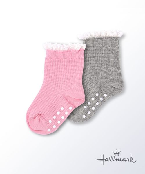 Hallmark Babies 女童防滑荷葉邊中筒襪子兩件裝 HG3-Y04-C8-CG-MR