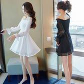 洋裝 秋冬女裝韓版時尚氣質一字肩燈籠長袖收腰顯瘦露肩連身裙-炫科技
