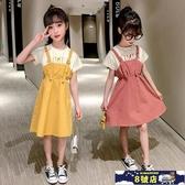 女童洋裝 連身裙夏裝2020新款韓版洋氣夏季兒童棉質短袖裙子女孩背帶裙 8號店