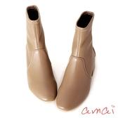 amai 《漫步巴黎》小方頭襪靴 皮革棕