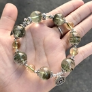 『晶鑽水晶』千層綠幽靈+黃水晶 純銀手鍊 約14mm 圓珠 招財 招貴人 附禮盒