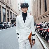 西裝套裝含西裝外套+西裝褲(二件套)-日系袖口雙槓設計伴郎男西服2色73hc75[時尚巴黎]