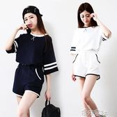 韓版打X夏裝休閒短袖短褲純色寬鬆情侶學生兩件套裝 港仔會社