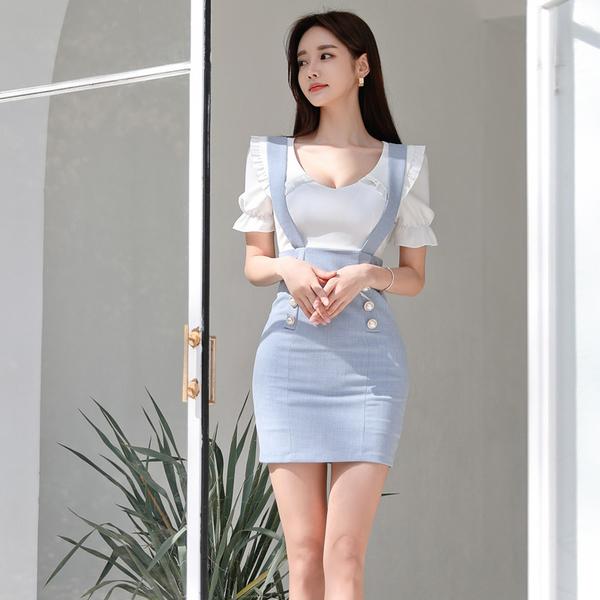 超殺29折 韓國風氣質時尚顯瘦背帶假兩件短袖洋裝