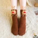 襪子女睡眠襪圣誕地板襪成人加厚加絨硅膠防滑中筒襪【創世紀生活館】