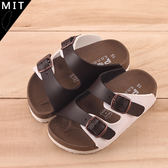 男女童 超輕量EVA配色拼接休閒 拖鞋 咖啡色 59鞋廊