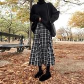 復古格子流蘇半身裙女19新款秋冬裝小香風高腰A字中長桔梗裙 【雙11特惠】