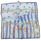 TRUSSARDI 寶石鍊飾水漾波紋帕巾(湛藍)989045-18