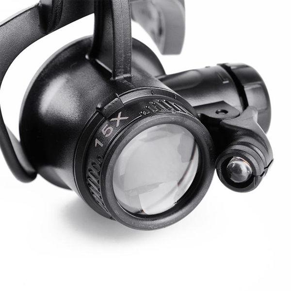 放大鏡 博視樂眼鏡式頭戴放大鏡雙目帶燈修理鐘表10倍15倍20倍25倍 薇薇