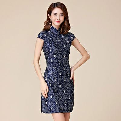 2017中大尺碼~優雅寶藍蕾絲旗袍短袖洋裝(M~3XL)