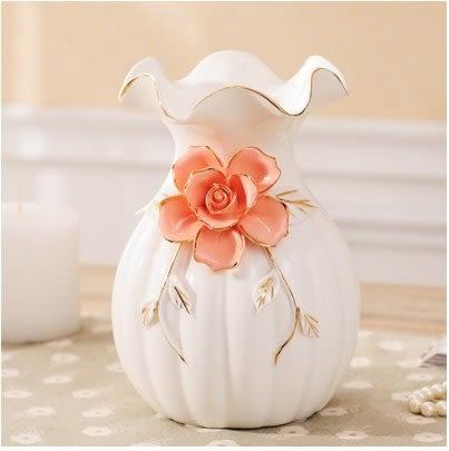歐式陶瓷花瓶擺件結婚家居客廳電視櫃餐桌時尚簡約現代裝飾工藝品[白色花瓶]