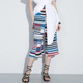 寬管褲夏裝新款復古寬鬆顯瘦壓褶九分寬管褲女裝條紋高腰雪紡百褶褲 可然精品