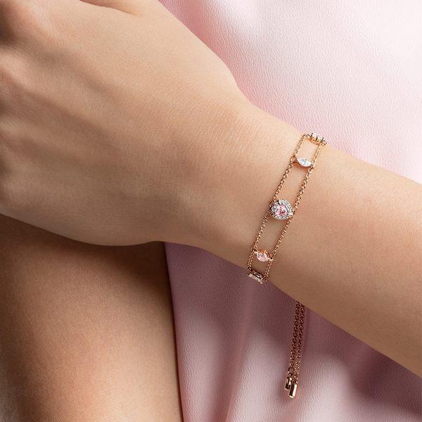 施華洛世奇 One 玫金色時尚粉紅愛心雙飾手鏈