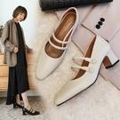 手工真皮女鞋33~40 2020新款法式時尚優雅頭層牛皮方頭瑪莉珍鞋 中跟鞋~2色