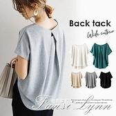 日系甜美背后特色寬鬆短袖棉T恤衫2021夏季純色簡約圓領上衣女 范思蓮恩