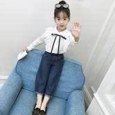 女童秋裝襯身2019新款兒童4春秋5洋氣6長袖7襯衫8白色韓版3-9歲