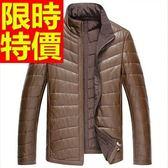 真皮羽絨外套-造型美式風禦寒羊皮男皮衣夾克2色62w29【巴黎精品】