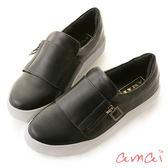 amai金屬拉鏈裝飾潮流寬帶軟墊休閒鞋 黑