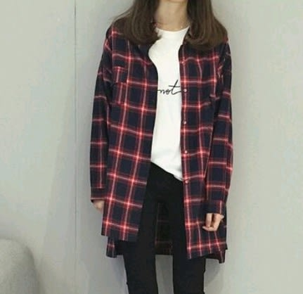 EASON SHOP(GU4898)蘇格蘭紋長袖襯衫前短後長格子長版外套女上衣服韓寬鬆英格蘭格紋學院法蘭絨翻領