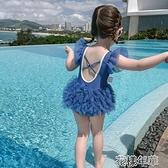 童裝新款兒童夏季連體泳衣女童字母游泳衣寶寶小公主裙式泳裝 快速出貨