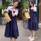 孕婦裝 MIMI別走【P521188】單穿小時髦 拼接假兩件連身裙 孕婦洋裝 涼感舒適