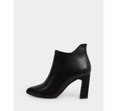 真皮短靴-R&BB牛皮*簡約極美俐落尖頭高跟踝靴-黑色