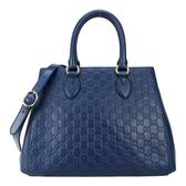 【南紡購物中心】GUCCI Guccissima 牛皮GG壓紋手提/斜背兩用包(深藍)
