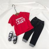 男童女童棉質短袖T恤衫小童寶寶字母套頭上衣潮【全館鉅惠風暴】