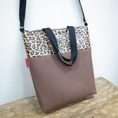 咖啡色豹紋側背包手提包外出包托特包~Mita ~MI 0906