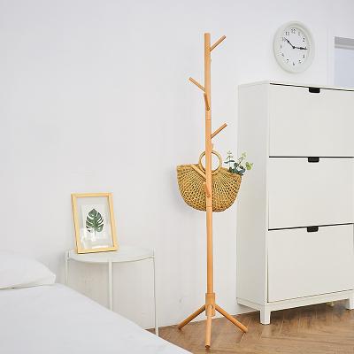 實木衣帽架立式簡易衣架掛衣服的架子落地單桿式臥室家用簡約現代RM
