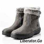 【Liberator】女中筒防潑水翻毛拉鍊雪鞋『灰』L5026 (冰爪 / 內厚鋪毛 /防滑鞋底) 雪地靴.雪鞋