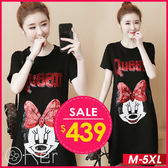 卡通蝴蝶結老鼠亮片長版短袖T恤 M-5XL O-ker歐珂兒 160112-1-C