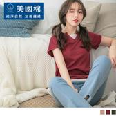 《KG0834-》。OB嚴選X美國棉。純色拼接假兩件短袖造型上衣 OB嚴選