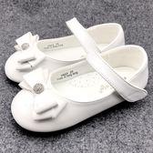 《7+1童鞋》迪斯可水晶球  蝴蝶結   娃娃鞋   公主鞋   D646   白色