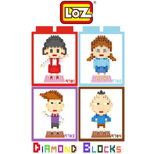 【愛瘋潮】LOZ 迷你鑽石小積木 9701 - 9704 櫻桃小丸子系列 小丸子 / 小玉 / 花輪 / 永澤 益智玩具