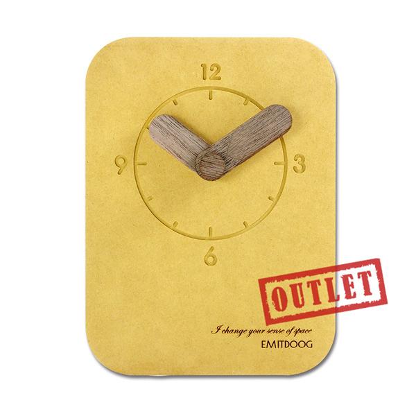 展示福利品75折↘ 4吋 現代居家 清水模 日式 北歐風 桌上型 靜音座鐘 時鐘 - 黃色 #827EMA12-G80